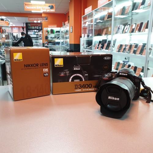 Aparat foto Nikon D3400 + Obiectiv Nikon DX VR 18-140mm 1:3.5-5.6G ED