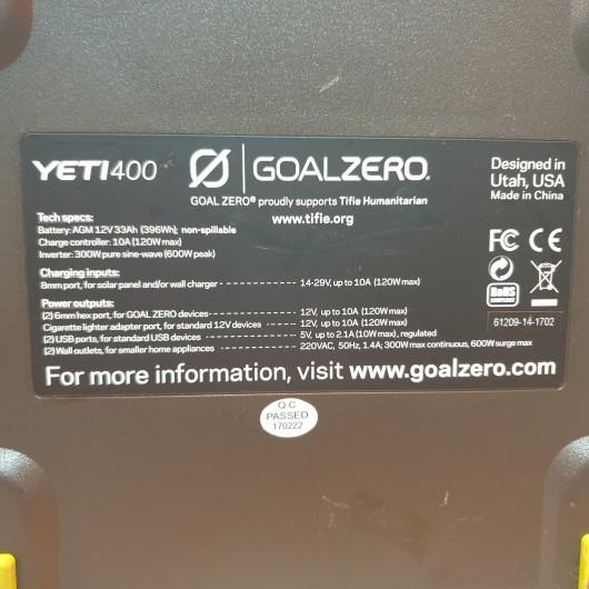 Generator Electric GoalZero Yeti 400