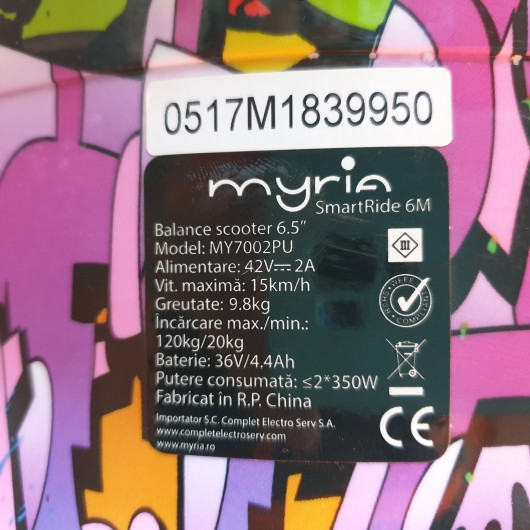 Hoverboard - Scooter Electric Myria My7002PU Smart Ride 6M