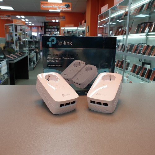 Kit 2 Adaptoare Powerline TP-Link AV1300 TL-PA8030P, 3x port Gigabit