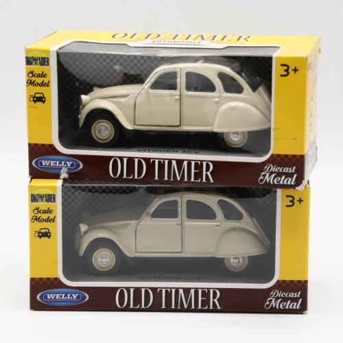 Macheta auto Welly Die Cast Metal Old Timer Citroen 2CV 1:34