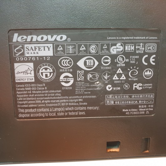 "Monitor Lenovo ThinkVision 1711PC - 17"" - 1280 x 1024"