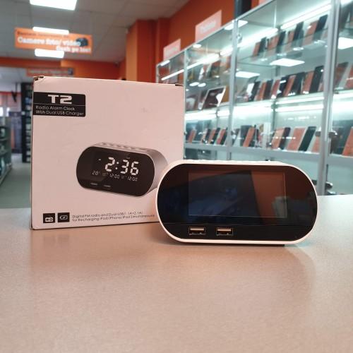 T2 Ceas digital cu alarma, Radio, Dual USB, 2.1A